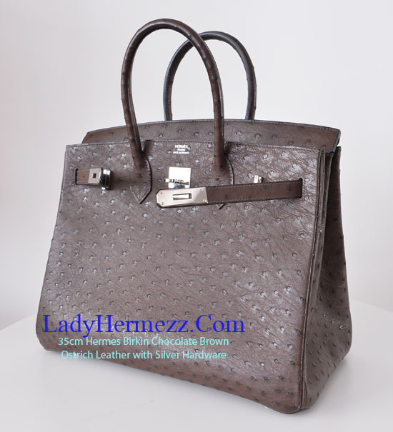 35cm Ostrich Birkin in Chocolate Brown ¡ê16,000 - LadyHermezz.Com