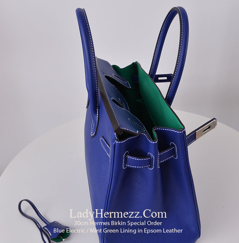 129b2e17283d Special Order 30cm Hermes Birkin Blue Electric with Green Lining ...