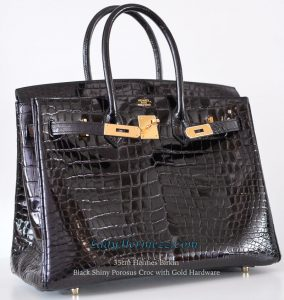 9e70628364 ... Hermes Birkin Black Porosus Crocodile with Gold Hardware. b35-black- shiny-croc-ghw-09