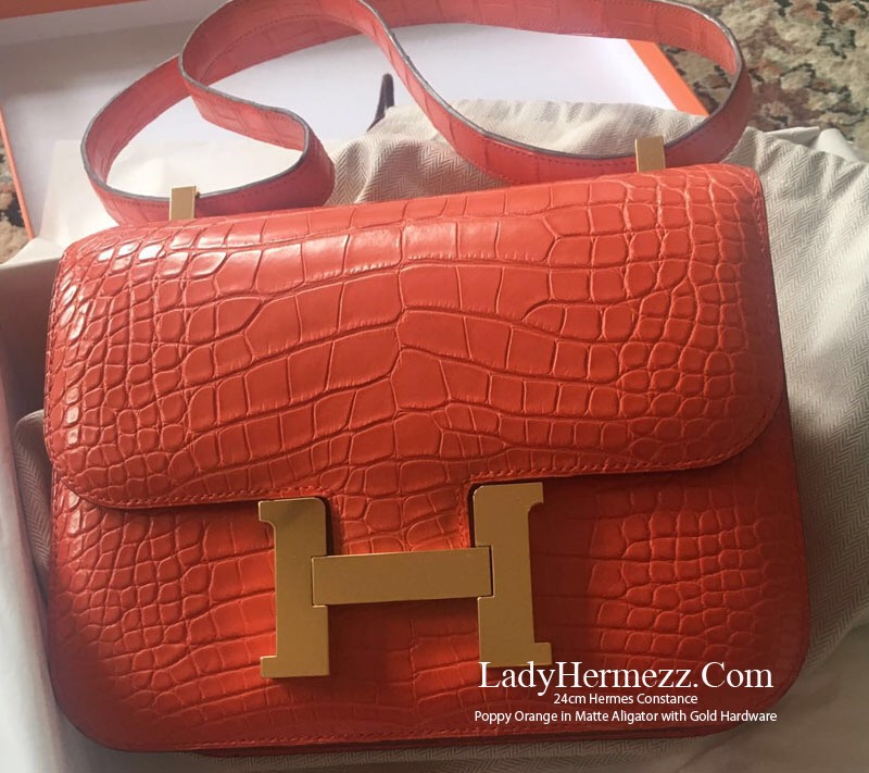 44fa7119b2 Sac Hermes Constance 24cm Orange Poppy Matt Alligator GOLD hardware £24,600
