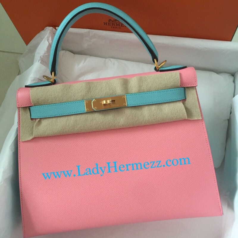 57f3b45a3513 25cm Hermès Special Order Kelly Rose Confetti Blue Atoll Brushed Gold  Hardware SGD43