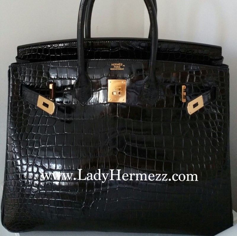 Processed with MOLDIV. Details 35cm Hermès Birkin Black Shiny Porosus Croc  Gold Hardware fa6d5c456be91