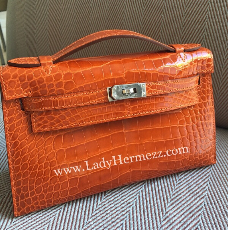 Orange crocodile birkin bag