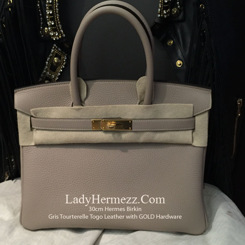 915eab3d2264 30cm Hermes Birkin GRIS TOURTERELLE in TOGO Leather with Gold Hardware  £12