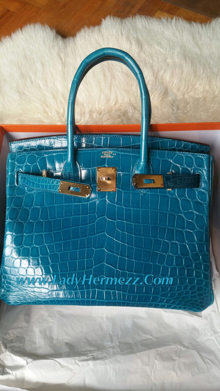 30cm Hermes Birkin Blue Izmir Shiny Nilo Crocodile Gold Hardware 42 500 Uk Pounds