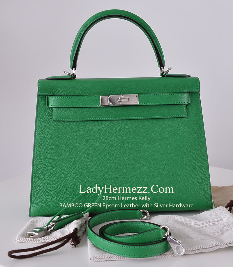 bce1a6d5d5 28cm Hermes Kelly BAMBOO GREEN Epsom Leather with Silver Hardware ...