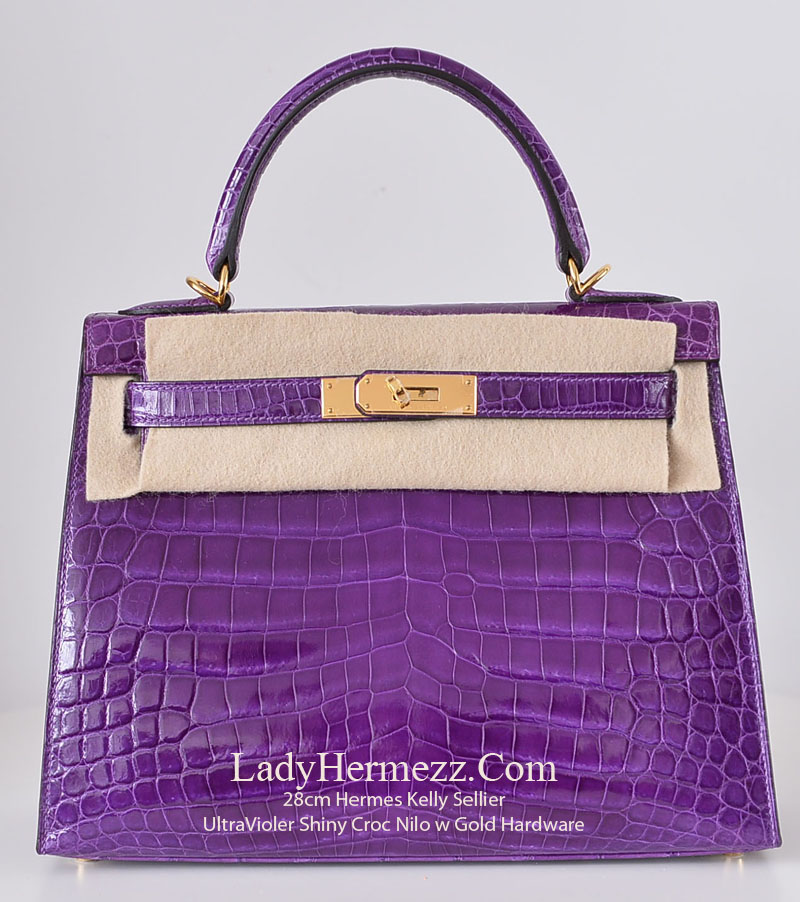 b85af089df 28cm Hermes Kelly ULTRA VIOLET PURPLE Shiny Nilo Crocodile Silver hardware  X  £49