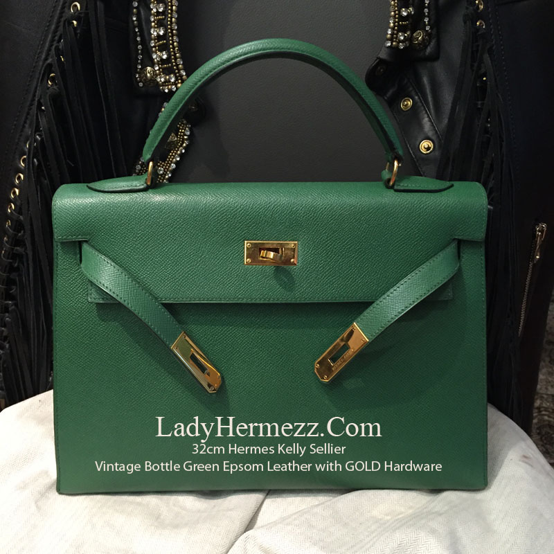 cb5e6ac7357f 32cm Hermes Kelly Sellier Bottle Green in Epsom Leather with Gold Hardware  – £8
