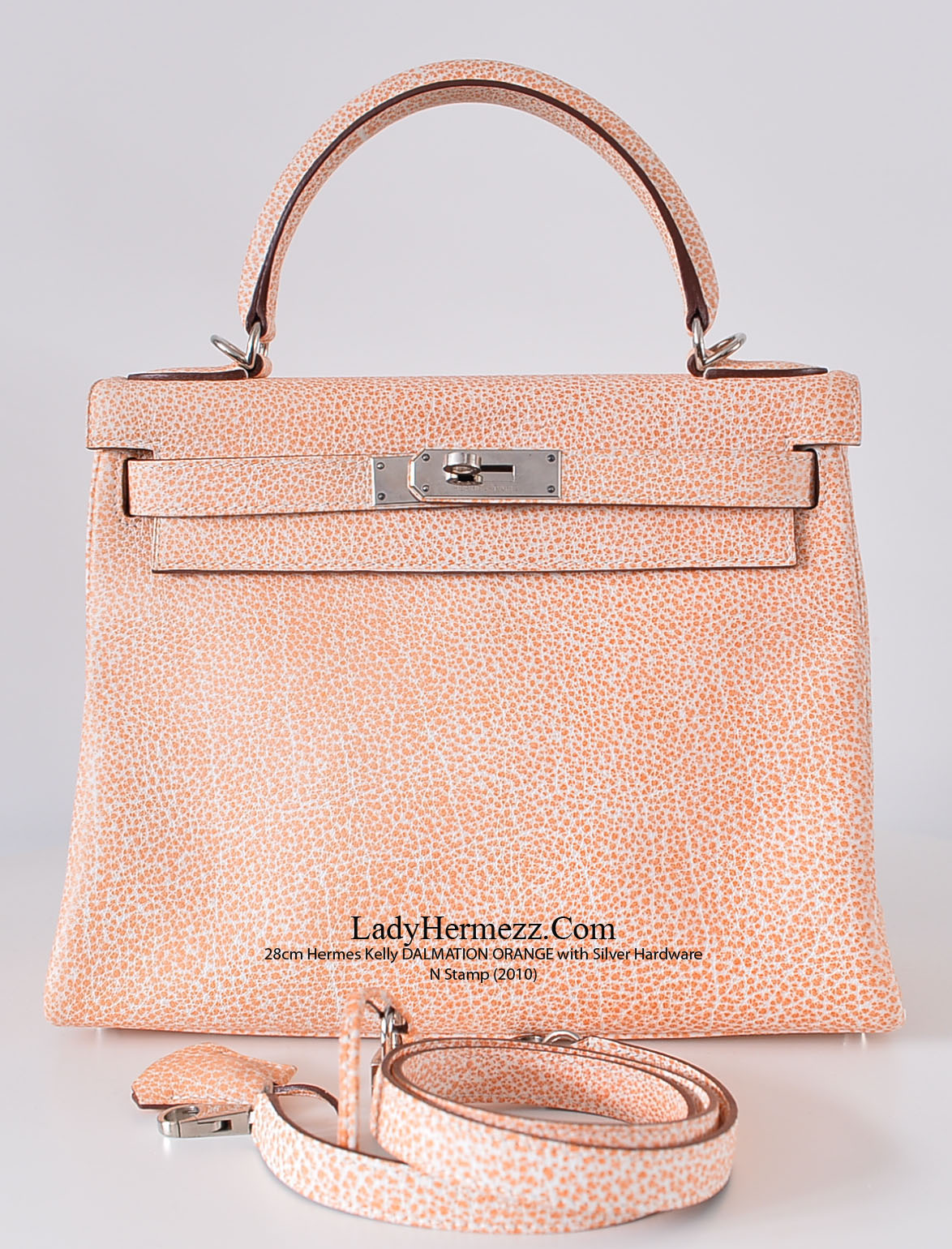 88b022cf1c 28cm Hermes Kelly Dalmatian Orange Buffalo Leather Silver Hardware N Stamp  (2010) Our Price   £15