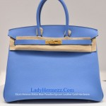 Hermes HSS Tri-color Blue Electric Anenome Togo Birkin 30cm Gold Hardware